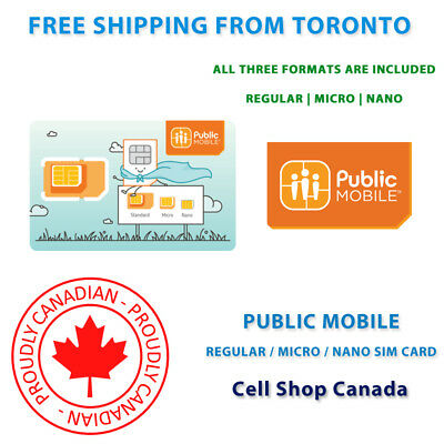 Public Mobile SIM Card - MULTI FORMAT SIM CARD - NEW & READY TO ACTIVATE