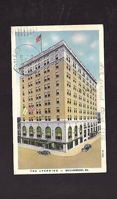 Vintage Postcard Linen The LYCOMING Williamsport PA  Old Cars 1