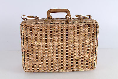 Antique Primitive Old Hand Woven Wooden Wicker Bag Box