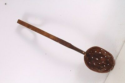 Antique Authentic Primitive Hand Carved Wooden Big Spoon Ladle.