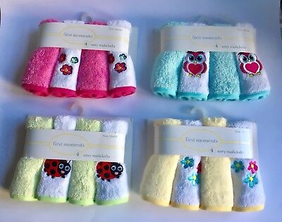 Baby Newborn Wash Cloths Washers Face Hand Terry Towels 4 pcs 10x10' Gift NEW