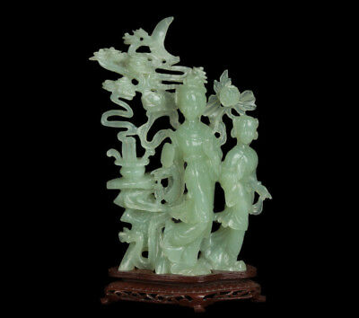 China 20. Große 'Jade' Statue - A Chinese Hardstone Group Of Two Female Deities