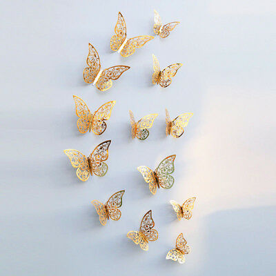 12 pcs 3D Butterfly Wall Stickers G/S Art Decal Home Room Decorations Decor Kids