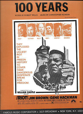 """""""100 Years"""" sheet music from the film """"Riot"""" starring Jim Brown"""