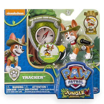 Paw Patrol Jungle Rescue Tracker Action Pack Pup and Badge. New