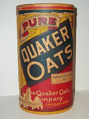 Rare Original 1910 QUAKER ROLLED WHITE OATS Large 3lb 7oz Cardboard Canister Box