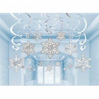30 Christmas Snowflake Paper Foil Swirls Ceiling Winter Wonderland  Decoration