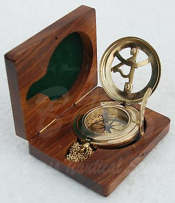 Antique Style Solid Brass Sundial With Push Button Pocket Watch Type Lid Vintage