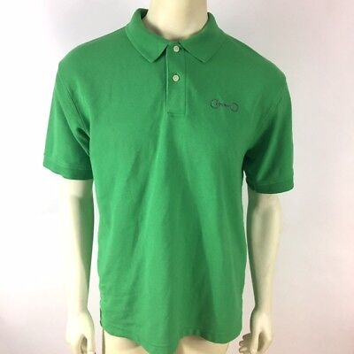 LL Bean Mens Size M Green Short Sleeve Polo Shirt Equestrian Tack Embroidered
