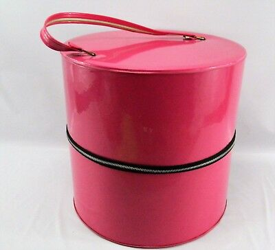 Vintage Pink Patent Vinyl Wig Case Hat Box Travel Case Luggage Carry On 1960s