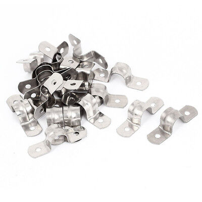 20pcs stainless steel 2-Hole Rigid Pipe Straps Clip Clamp for 12mm Dia Tube F8O4