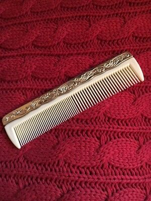 VINTAGE STRAIGHT COMB with Ornate Silver Plate Floral Design