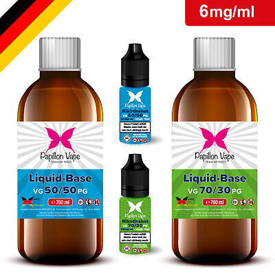 1 Liter E-Liquid Base 6mg DIY-Set Nikotin Shots 20mg 50/50 70/30 für E-Zigarette