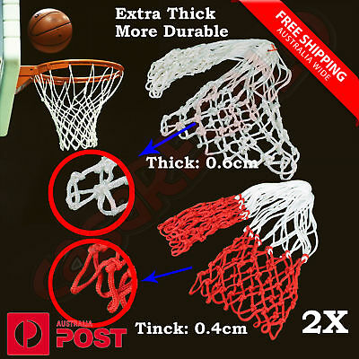 2 x Standard Basketball Net Nylon Thread Hoop Ring Rim Mesh Durable 12 Loops