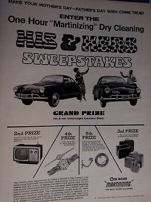 1969 Volkswagen Karmann Ghia Martinizing Cleaners Original Print Ad 8.5 x 10.5""