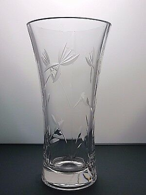 """VERY LARGE ROYAL DOULTON CRYSTAL CUT GLASS VASE - 12"""" (30 cms) TALL- MARKED"""