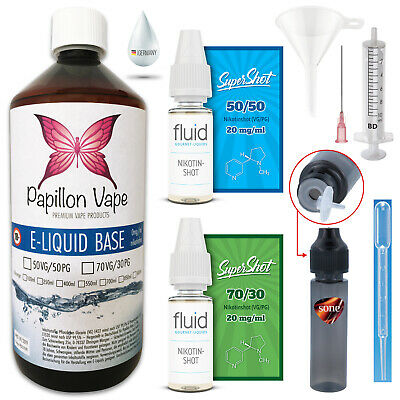 1 Liter E Liquid Base 9mg DIY Set Nikotinshots 20mg 50/50 70/30 für E Zigarette