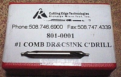 """Combined Drill & Countersink/center Drill 1/8""""  #1  High Speed  Quality Usa Made"""