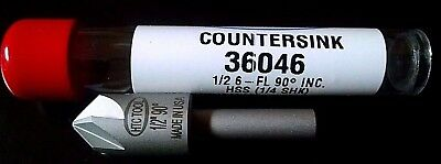 """HIGH SPEED COUNTERSINK 1/2 """" 90 degree 6 Six flute Chatterless Made in U.S.A."""