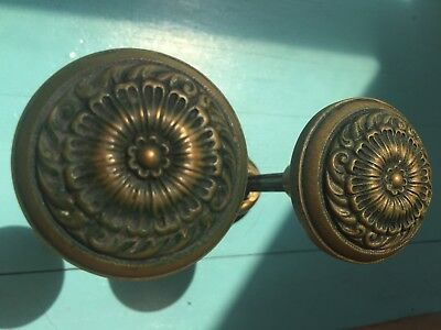 RARE Antique Victorian Amber Glass and Brass Door knobs set of 2.