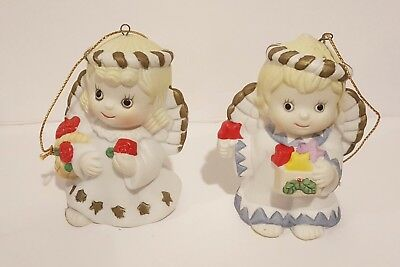 "Retired Giftco Set 2 Ceramic Christmas 3"" Angel Bell Ornaments Orig Box Mint"