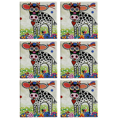 6pc Maxwell & Williams Smile Style Ceramic Tile Coaster Betsy 9cm Placemat