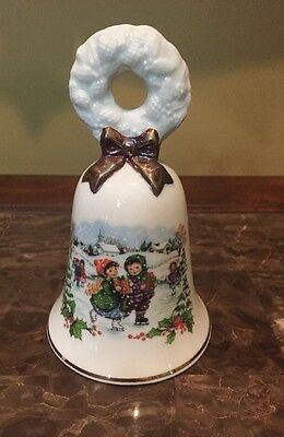 Vintage Avon 1986 Christmas Porcelain Bell With Gold Trim