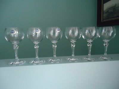 6 vintage bohemian crystal sherry wine glasses
