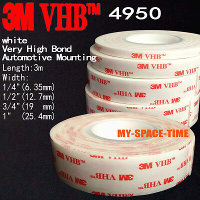3M VHB #4950 Double-sided Acrylic Foam Adhesive Tape Automotive 3 Meters Long