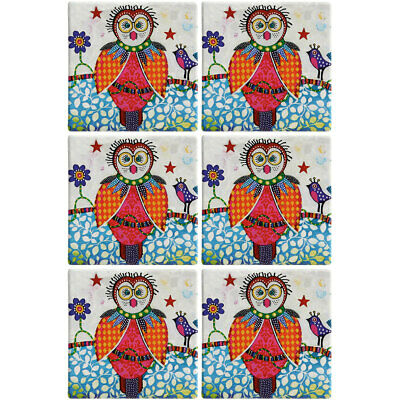 6PK Maxwell & Williams Smile Style Ceramic Tile Coaster Boobook 9cm Placemat
