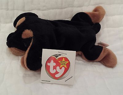 NWT Ty Beanie Baby 4th Generation 1996 DOBY the Doberman Dog, Slightly Bent Tag