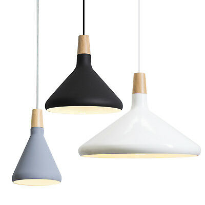 Aluminum Shade Timber Top Pendant Lighting Modern Contemporary Grey Black White