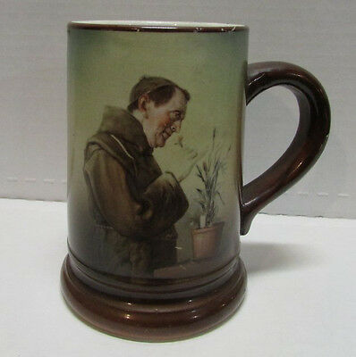 """1800's Beer Tankard w/ a MONK  smelling flower's 5"""" tall"""
