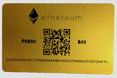 "Safe Ethereum Wallet - SECURE Offline Cold Storage / Plastic ""Paper Wallet"" ETH"
