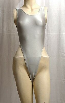 New Shiny Grey Spandex Thong Leotard for Women size 10 Small