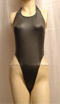 New Black Rubber Look Open Back Thong Leotard with Neck Strap size 10 Small