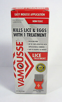 VAMOUSSE Head Lice Treatment 6oz +Steel Comb homeopathic Easy Mousse Application