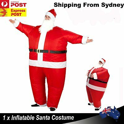 New Inflatable Santa Costume Battery Operated Christmas Xmas Cosplay Dress Suit