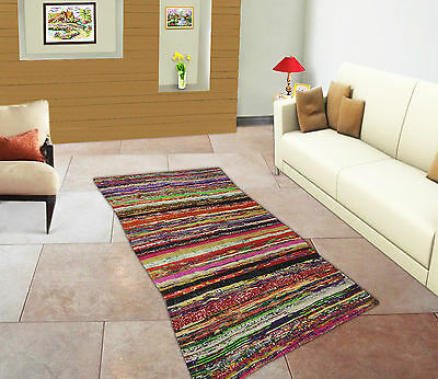 Chindi Hand Woven Multicolor Floor Runner Cotton Handmade Rug Rag Dari Carpet