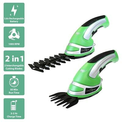 Charles Bentley 3.6V Cordless 2 in1 Grass Cutter Hedge Trimmer Hand Held Shears