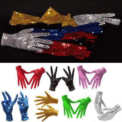 Unisex Kids Adults Sequin Bling Shiny Charm Show Gloves Dance Sing Party Perform