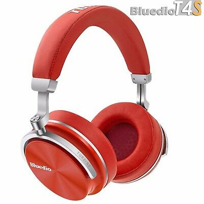 Bluedio T4S Bluetooth 4.2 Cordless Headphones Stereo ANC Red Headset, Microphone