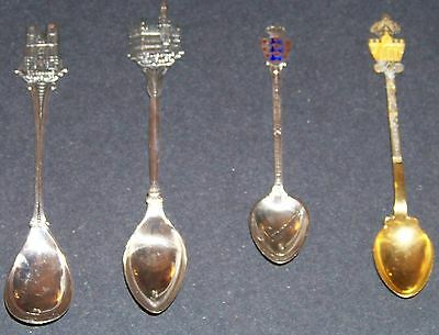 Group of 3 Sterling Signed & 1 Gold Plated Souvenir Spoons Danish - Dutch