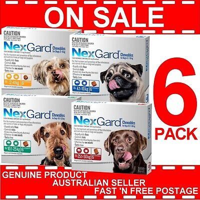 NexGard Chewables For Dogs Flea and Tick Treatment 6 Pack All Sizes Chew