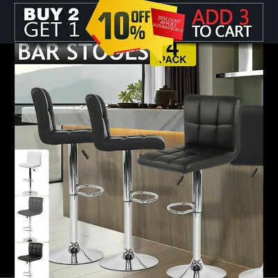 4x PU Leather Swivel Bar stool Kitchen Dining Chair Barstool Gas Lift Adjustable