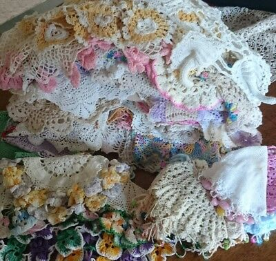 Bulk Lot of 75+ Vintage Crochet Doilies, Jug Covers, Pansies- Mixed Colours