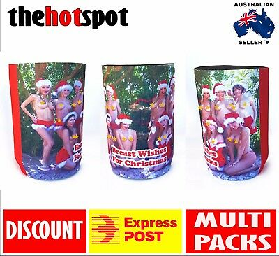 Breast* Wishes STUBBY HOLDER Beer Cooler Father* Dad* Christmas Gift* Topless