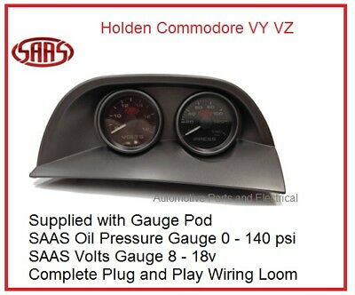 VY VZ Commodore SAAS Gauge Pod + Oil Press + Volts Gauge + Wiring Plug in Loom