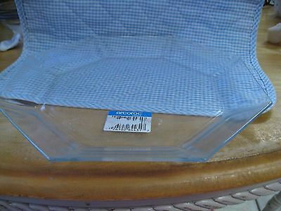 """Vintage Luminarc Arcoroc France Clear Glass Octagon 9 3/4"""" Plate New"""