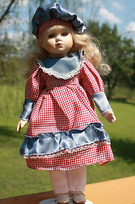 Blonde Brown Eyed Porcelain Doll 16 in with Stand in Red/White Checked Dress